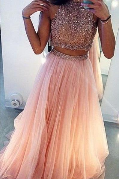 Charming Pink Two Pieces Prom Dress, Prom Dresses Rhinestones, Prom Gown, Party Dresses
