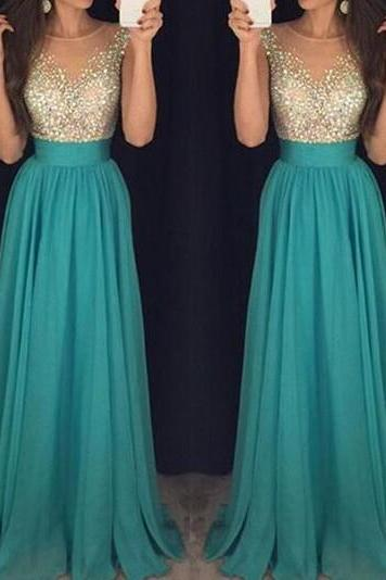 Prom Dress, Prom Dresses, Long Prom Dress, Beading Prom Dress, Chiffon Prom Dress, Green Prom Dress