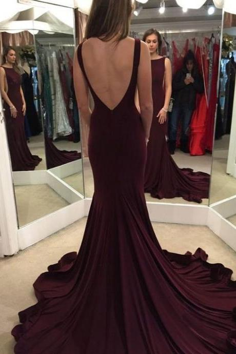 Real Sexy Open Back Evening Dresses, 2016 Dark Plum Long Mermaid Prom Dresses,Modest Prom Dress For Teens
