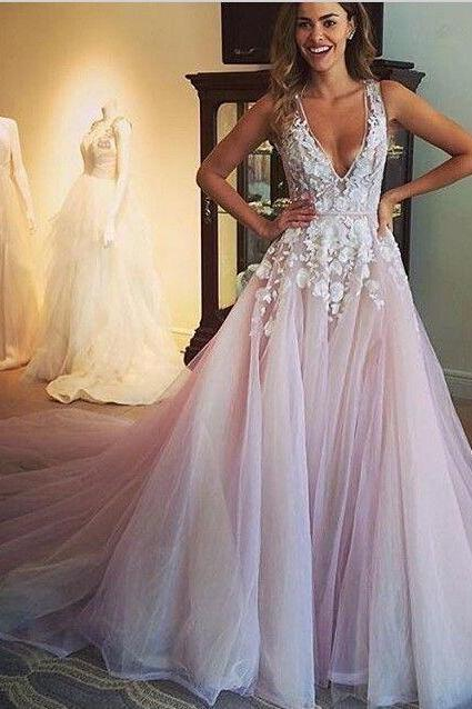 Gorgeous A-line Scoop Long Wedding Dress, Prom Dress with Appliques, Light Pink Wedding Dress, Light Pink Prom Dress, Tulle Prom Gowns