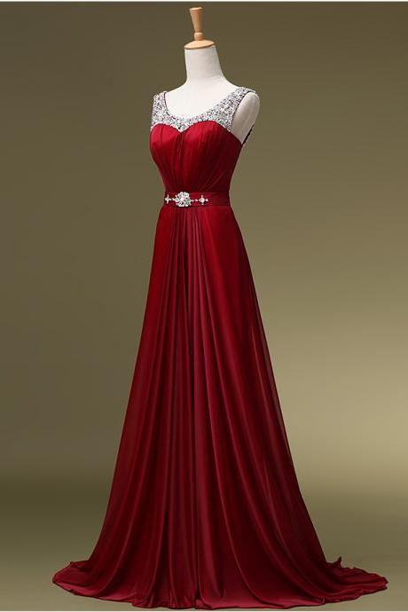 Beautiful Real Made Prom Dress, Burgundy Prom Dresses, Chiffon Long Prom Dress, Elegant Formal Dresses, Charming Evening Dress, Woman Formal Evening Gown, Cheap Bridesmaids Dresses, Long Party Dresses, Prom Dress On Sale