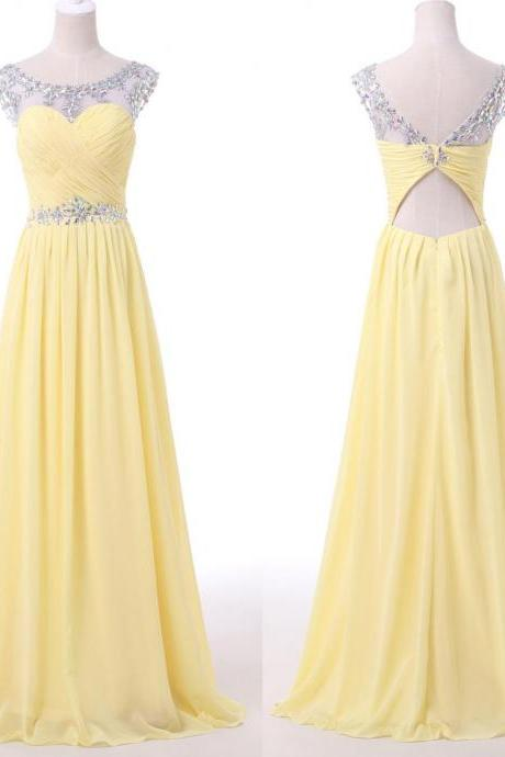 Yellow Beaded Illusion Chiffon Prom Dress With Cut Out Back, Charming Beading Long Woman Evening Dress