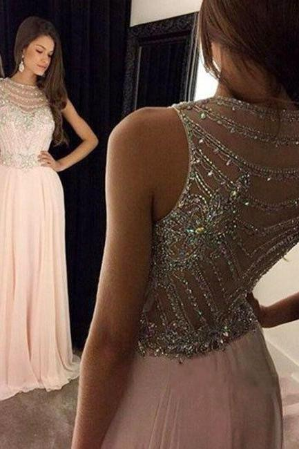 Elegant Chiffon O-Neck Beading Blush Pink Prom Dress, Woman's Long Evening Dress, Prom Party Dress for Teens