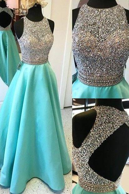 Luxurious A-line Beaded Scoop Long Prom Dress with Open Back, Party Prom Dresses, Open Back Satin Prom Dresses,Modest Evening Dresses, Stunning Mint Green Backless A-line Beading Prom Dresses for Teens
