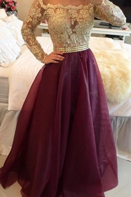 Long Sleeves Prom Dresses Gold Illusion Lace Beaded Burgundy A-line Gorgeous Evening Gowns, Illusion Long Sleeves Evening Gowns, Gold and Burgundy Prom Dresses, Prom Dresses Long