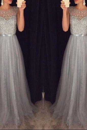 2017 New Arrival Cap Sleeves Beading Prom Dresses,Charming Gray Evening Dresses,A-line Modest Prom Gowns,Long Prom Gowns