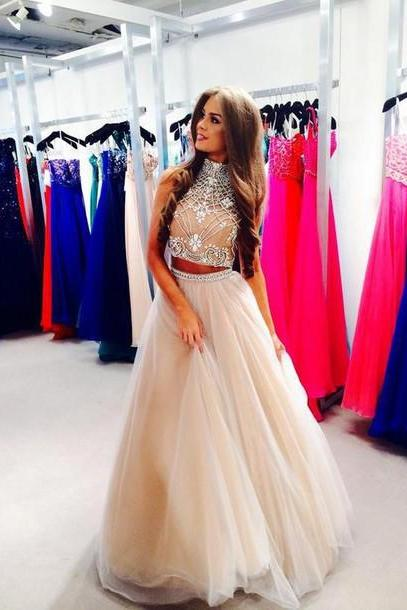 Beads and Sequins Prom Dresses, O-Neck Prom Dresses, Real Made Prom Dresses,Two-Pieces Prom Dresses On Sale