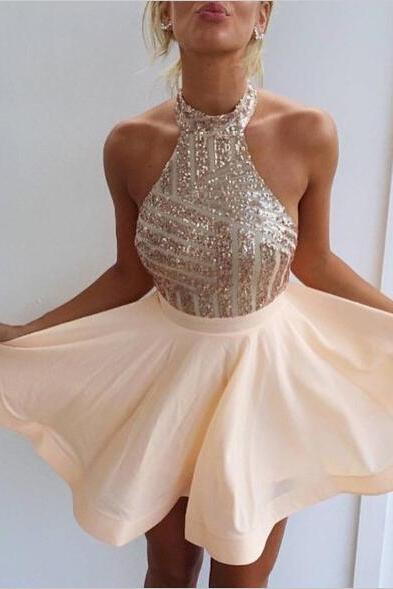Champagne homecoming dress, halter prom dress,backless prom dress, a line homecoming dress,beading party dress, prom dress beaded,2 piece prom dress,homecoming dress for juniors,