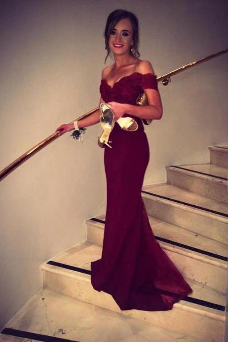 2016 Burgundy Mermaid Prom Dresses, Sexy Evening Gowns, Long Prom Dress, Party Dress, Off-shoulder Mermaid Long Burgundy Satin Prom Dress with Lace Top