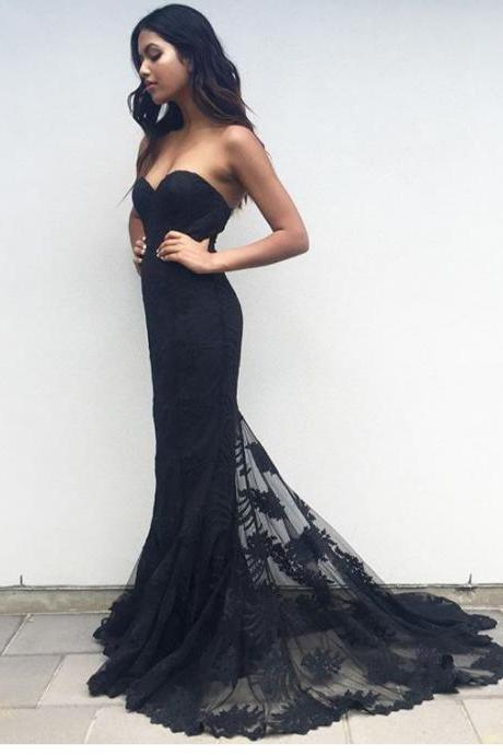 New Arrival Prom Dress, Charming Black Sweetheart Neck Lace Train Long Prom Dress, Woman's Lace Evening Dress, Mermaid Prom Dress, Formal Dresses