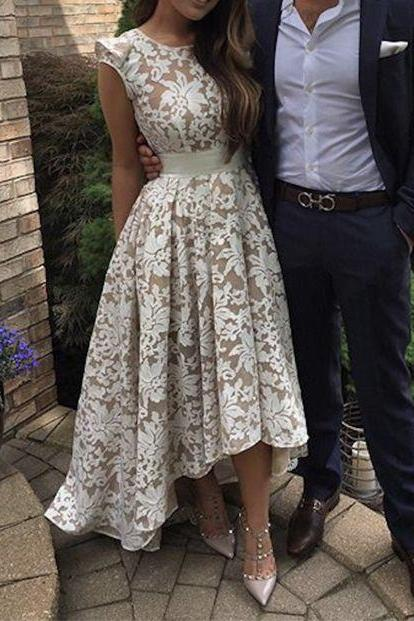 Modest Prom Dress,Cute Round Neck Lace Prom Dress For Teens, High-low Prom Dress,Cute Homecoming Dress,Lace Bridesmaid Dress, Party Dress, Formal Women Dress,Prom Gowns 2016