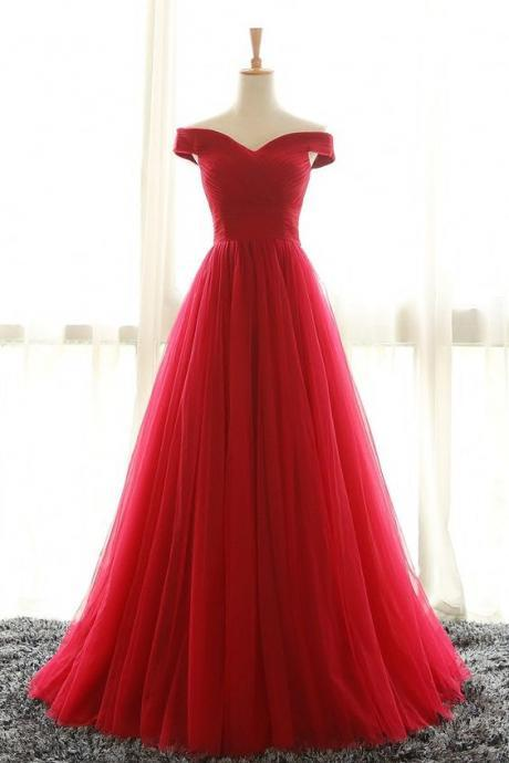 Tulle Prom Dress, Long Prom Dress, Woman Evening Dress, Full Length Off Shoulder Sleeves Red Bridesmaid Dresses, Long Formal Dresses, Cheap Prom Dress